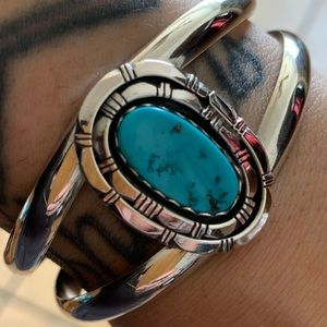 Navajo Sleeping Beauty Turquoise Sterling Cuff